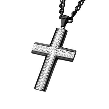 Wheat Stalk Cross Steel Mens Cross Pendant Necklace