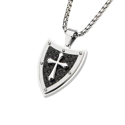 Passion Cross Shield Black IP Steel Mens Cross Necklace