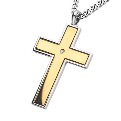 Lords Prayer Reversible Gold IP Steel Cross Pendant Necklace