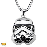 Star Wars Mens Necklace STORM TROOPER HELMET in Steel Front View