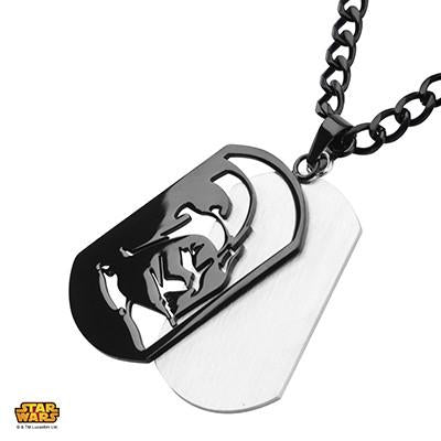 Star Wars Mens Necklace DARTH VADER DOGTAG IN Black Steel