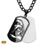 Star Wars Mens Necklace DARTH VADER DOGTAG IN Black Steel Front View