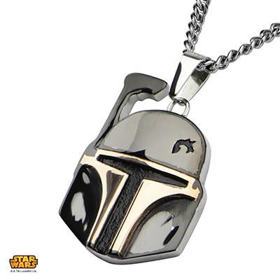 Star Wars Mens Necklace BOBA FETT Helmet in Gunmetal Steel