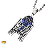 Star Wars Mens Necklace R2-D2 WORDCLOUD Etched Steel Alt View