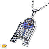 Star Wars Mens Necklace R2-D2 WORDCLOUD Etched Steel