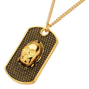 Star Wars C3PO 3D Gold Ion-Plated Steel Dog Tag Necklace
