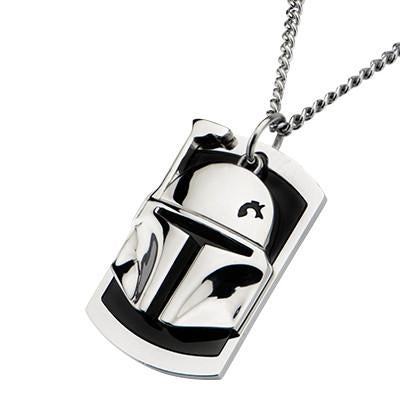 Star Wars Boba Fett Helmet Stainless Steel Dog Tag Necklace