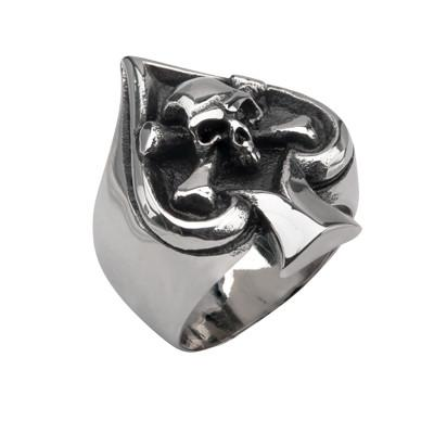 Mens Steel Ring POKER FACE Skull & Crossbones Ace of Spades