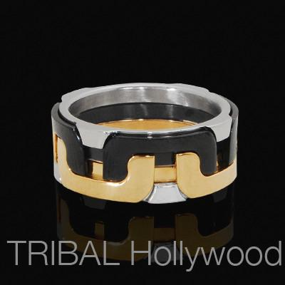 Mens Ring URBANE Stainless Black and Gold Steel | Tribal Hollywood