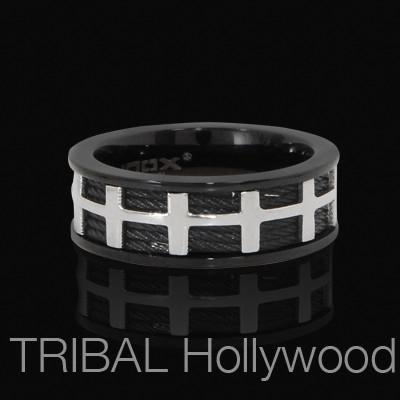 Mens Ring HELICOPTER Black and Stainless Steel Cable Ring | Tribal Hollywood