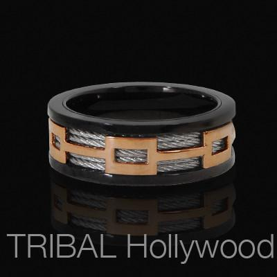 Mens Ring FERRY Steel Cable Ring in Black and Rose Gold Steel | Tribal Hollywood