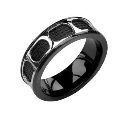 Black Steel Cable Ring MONORAIL Mens Ring in Stainless Steel