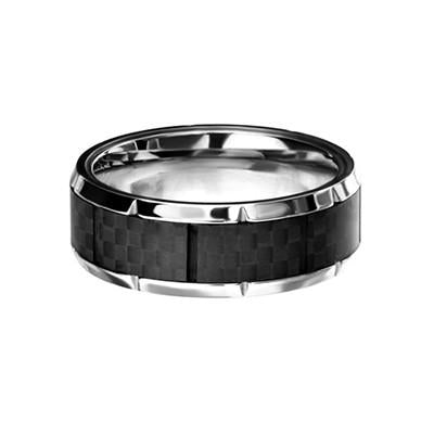 Accelerate Carbon Fiber Inlay Stainless Steel Mens Ring