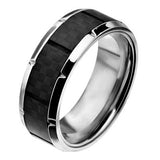 Accelerate Carbon Fiber Inlay Stainless Steel Mens Ring Alt View