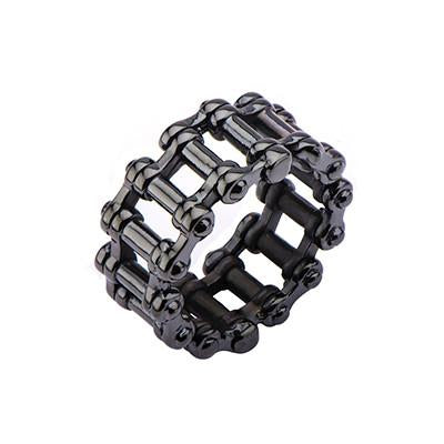 MOTOR CITY RING Black Steel Double Biker Chain Mens Ring