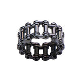 MOTOR CITY RING Black Steel Double Biker Chain Mens Ring Alt View