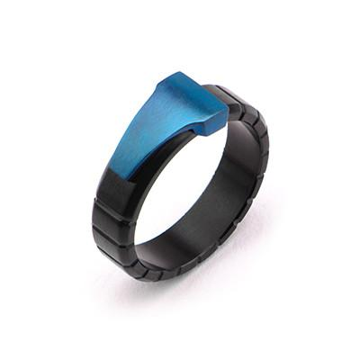 Mens Blue Dagger Ring in Blue and Black Stainless Steel