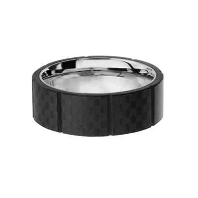 Black Nitro Carbon Fiber Squares Stainless Steel Mens Ring