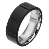 Black Nitro Carbon Fiber Squares Stainless Steel Mens Ring Alt View