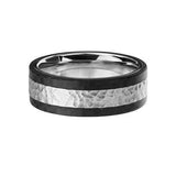Hammered Steel Black Carbon Fiber Stainless Steel Mens Ring