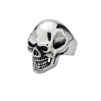 Grin Reaper Mens Large Stainless Steel Skull Ring