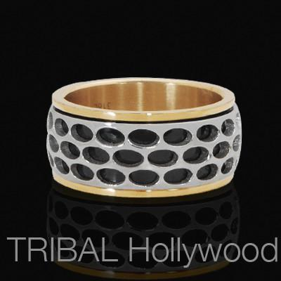 Spinner Ring Mens SPEEDSTER RING Black and Gold Stainless Steel | Tribal Hollywood