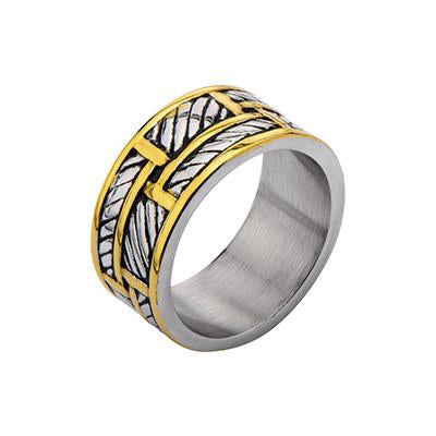 Gold Steel Ring METROPOLITAN RING for Men in Stainless Steel