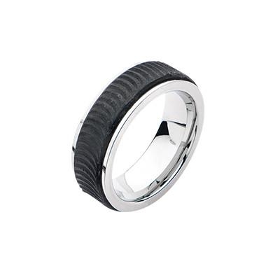 Ridged Carbon Graphite Modern Stainless Steel Mens Ring