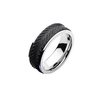 Wheat Stalk Carbon Graphite Modern Mens Stainless Steel Ring