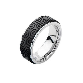 Hex Pattern Carbon Graphite Mens Stainless Steel Ring