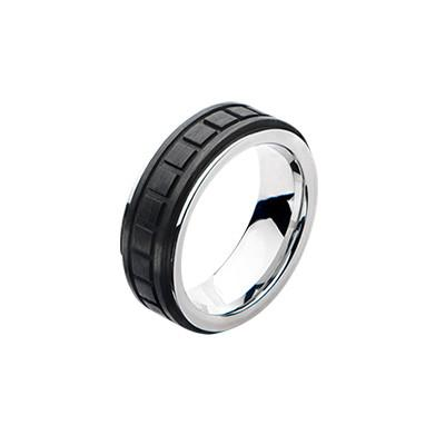 Tank Tread Carbon Graphite Mens Stainless Steel Ring