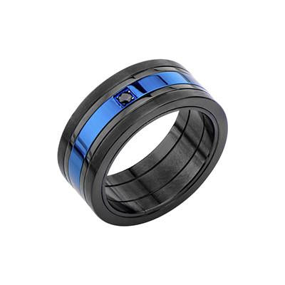 Black and Metallic Blue Steel GLACIER RING for Men