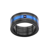 Black and Metallic Blue Steel GLACIER RING for Men Alternate View