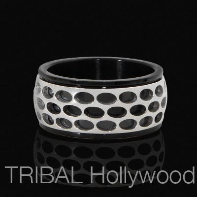 Spinner Ring Mens ROADSTER RING in Black and Stainless Steel | Tribal Hollywood