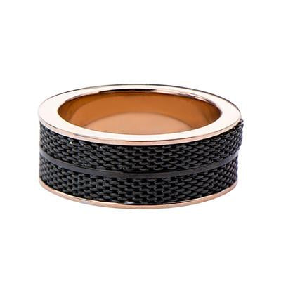 Tramonto Rose Gold and Black Stainless Steel Mens Ring