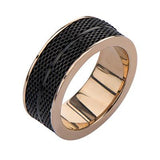 Tramonto Rose Gold and Black Stainless Steel Mens Ring Side View