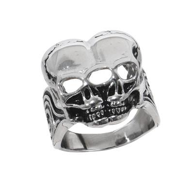 Conjoined Twin Skulls MUTANT SKULL Mens Ring in Steel