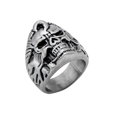 Rock and Roll ELVIS SKULL Mens Skull Ring in Stainless Steel