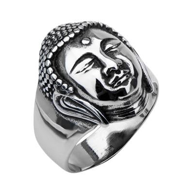 BUDDHA Ring for Men Stainless Steel Buddha Head Ring