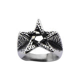 PENTAGRAM STAR Mens Ring in Hammered Stainless Steel