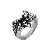 PENTAGRAM STAR Mens Ring in Hammered Stainless Steel Alternate View