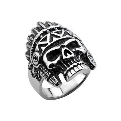 Indian Chief Skull Ring for Men APACHE in Stainless Steel
