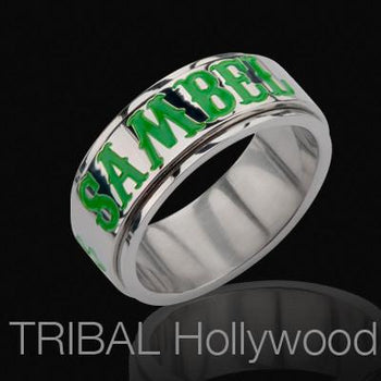 Sons of Anarchy Ring for Men Sambel Steel Irish Green