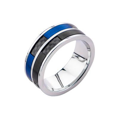 Blue and Black Steel Mens ICICLE RING with Carbon Fiber