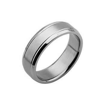 Classic Mens Ring THE OLD-FASHIONED Steel Beveled Edge Band