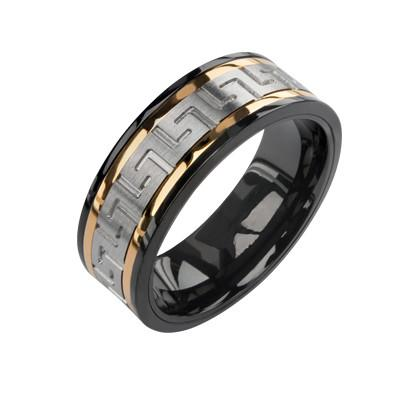 Black and Gold Stainless Steel Ring for Men GREEK PARADISE