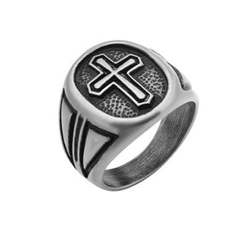 Passion Cross Weathered Stainless Steel Mens Cross Ring