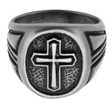 Passion Cross Weathered Stainless Steel Mens Cross Ring Front View