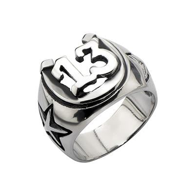 LUCKY 13 Horshoe Ring Stainless Steel Mens Ring