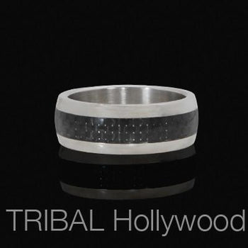 Mens Ring ANDROID in Stainless Steel and Carbon Fiber  | Tribal Hollywood
